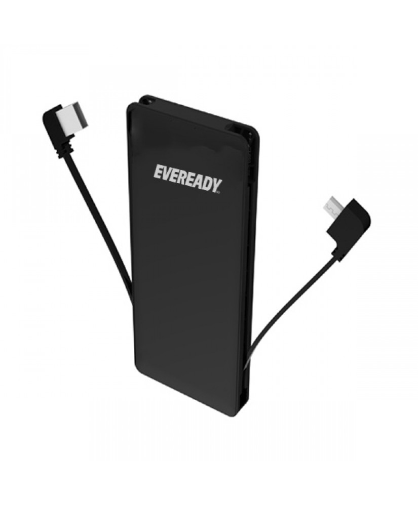 EVEREADY POWER BANK UNIVERSAL MFi WITH LIGHTNING+MICRO USB CABLE 4000mAh black