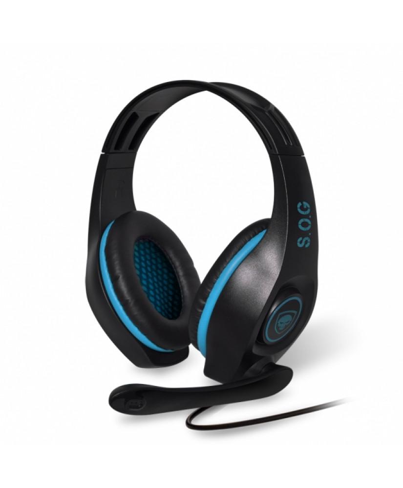 SOG ELITE STEREO HEADPHONES MIC JACK 3.5mm PC / PS4 / XBOX ONE / NINTENDO SWITCH black blue