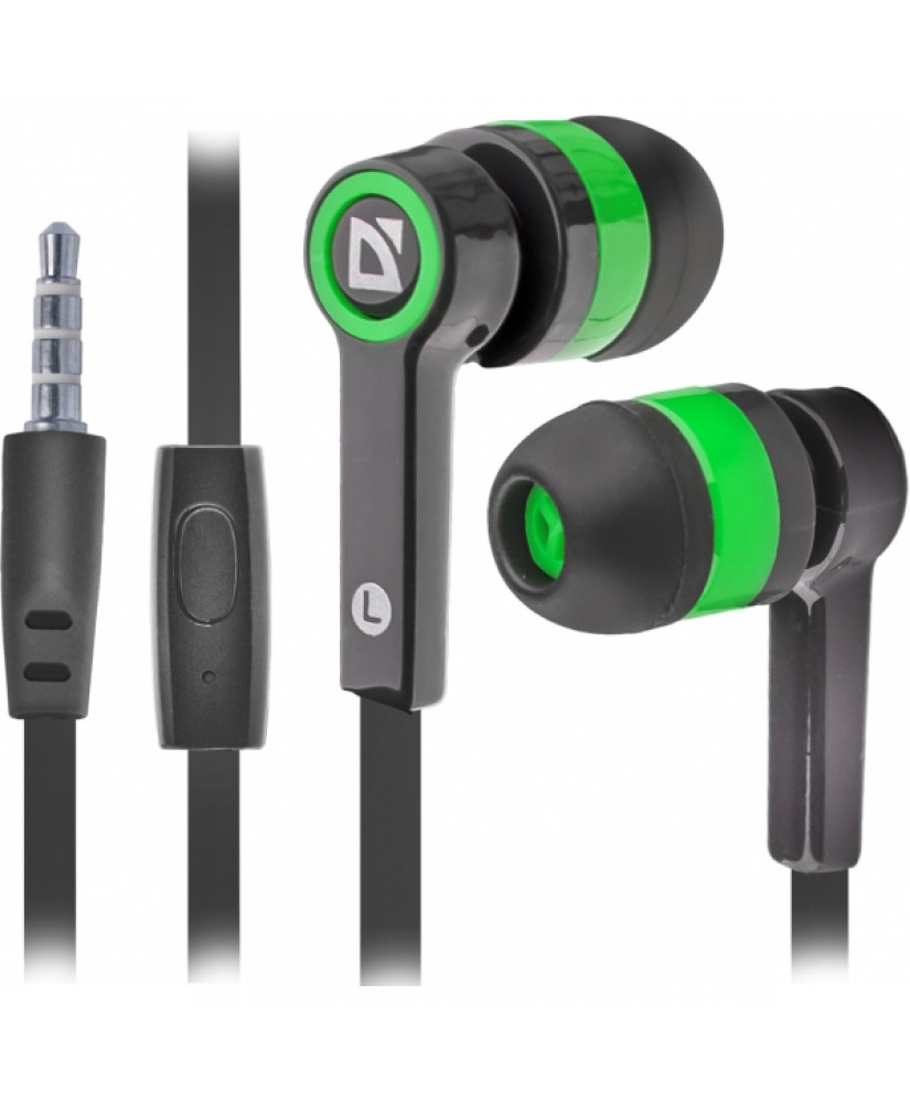 DEFENDER STEREO HANDSFREE PULCE 420 JACK 3.5mm 1.2m black green