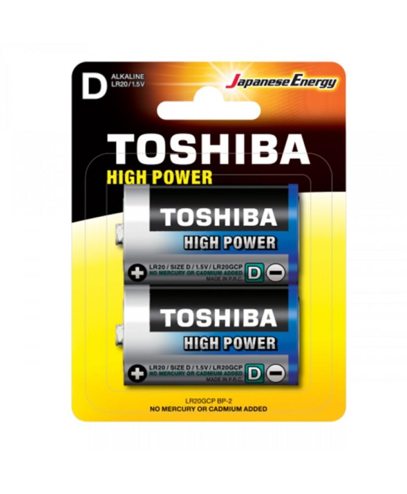 TOSHIBA HIGH POWER ΑΛΚΑΛΙΚΕΣ ΜΠΑΤΑΡΙΕΣ LR20GCP/D BP-2 2 ΤΕΜΑΧΙΑ
