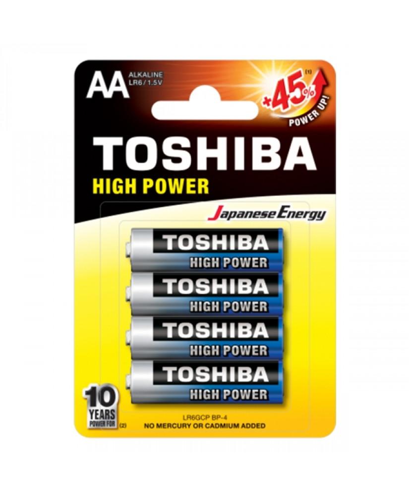 TOSHIBA HIGH POWER ΑΛΚΑΛΙΚΕΣ ΜΠΑΤΑΡΙΕΣ ΑΑ LR6GCP BP-4 1.5V 4ΤΜΧ