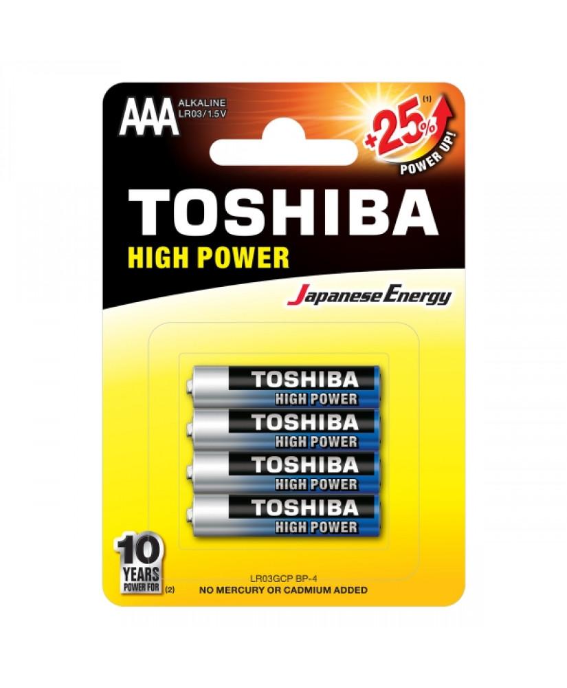 TOSHIBA HIGH POWER ΑΛΚΑΛΙΚΕΣ ΜΠΑΤΑΡΙΕΣ AAA  LR03GCP BP-4 1.5V 4ΤΜΧ