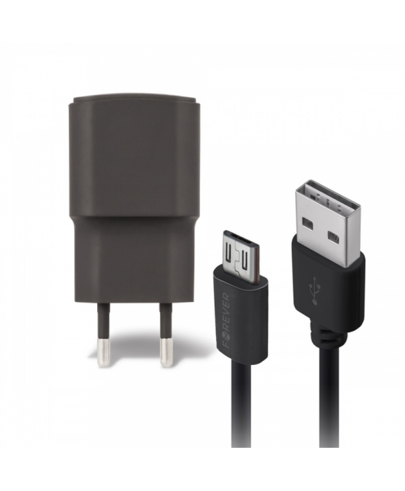 FOREVER TRAVEL CHARGER 2A + MICRO USB DATA CABLE black