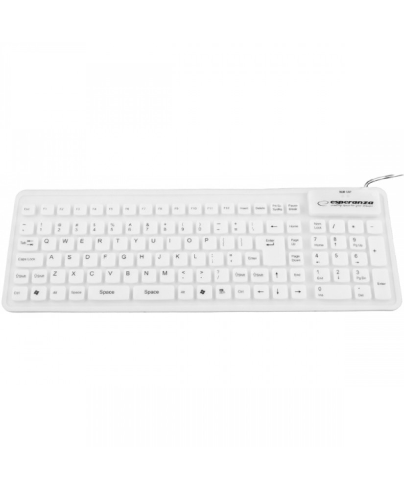 ESPERANZA SILICONE WIRED KEYBOARD FOR TABLETS AND COMPUTERS WHITE
