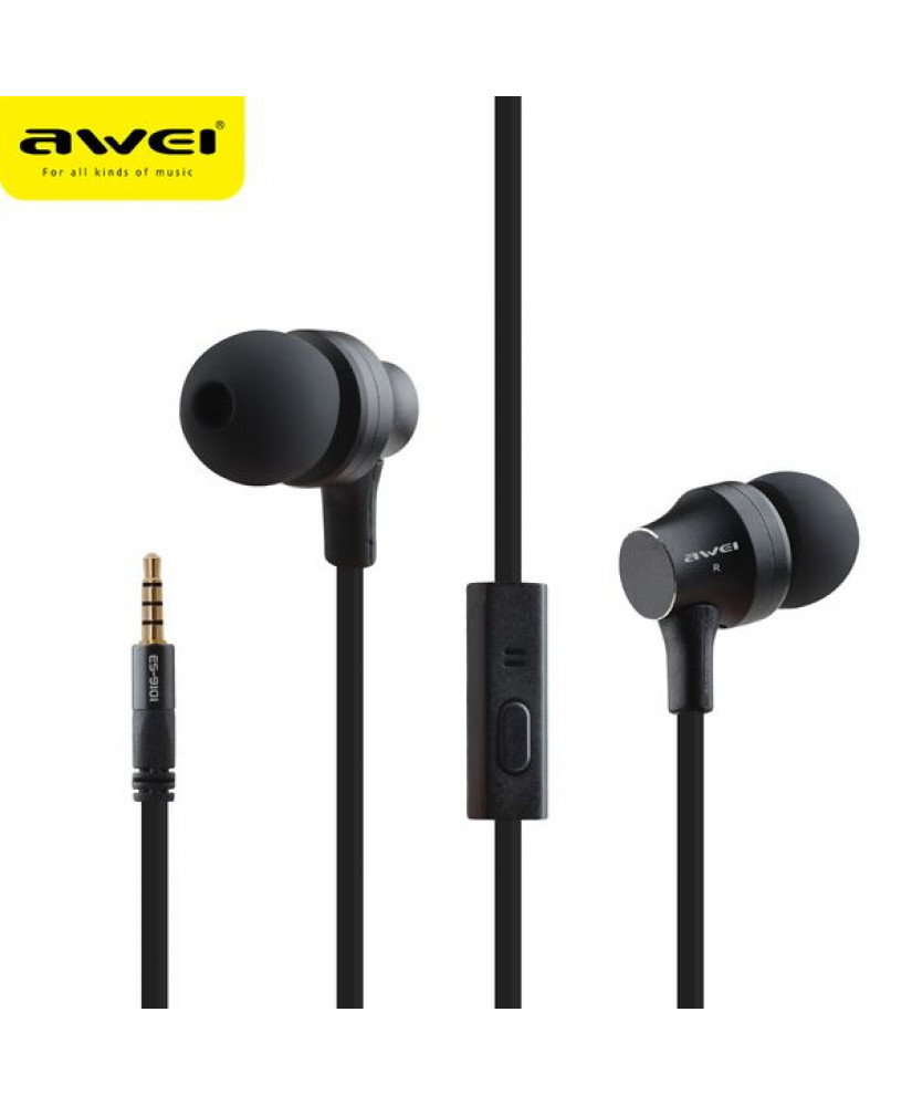 AWEI ΑΚΟΥΣΤΙΚΑ ES910I STEREO EARPHONES SUPER BASS HEADSET ΜΑΥΡΑ