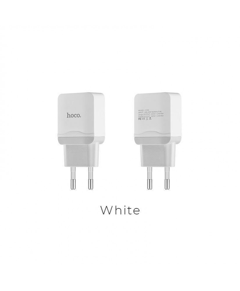 HOCO C33A LITTLE SUPERIOR DOUBLE PORT CHARGER ΛΕΥΚΟ