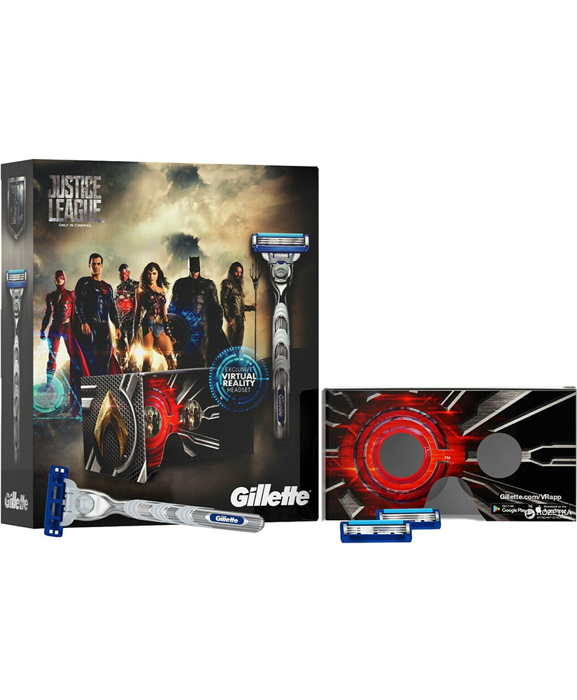 GILLETTE MACH 3 TURBO ΣΕΤ ΔΩΡΟΥ JUSTICE LEAGUE ΞΥΡΑΦΑΚΙ ΜΕ 2 ΑΝΤΑΛΛΑΚΤΙΚΑ ΚΑΙ VR HEADSET