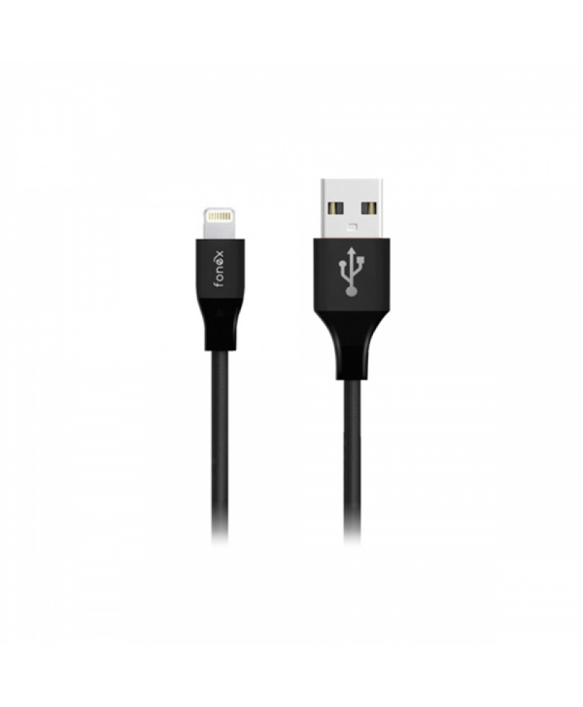 FONEX DATA CABLE FABRIC LIGHTNING SPEED CHARGE 2A 1m black