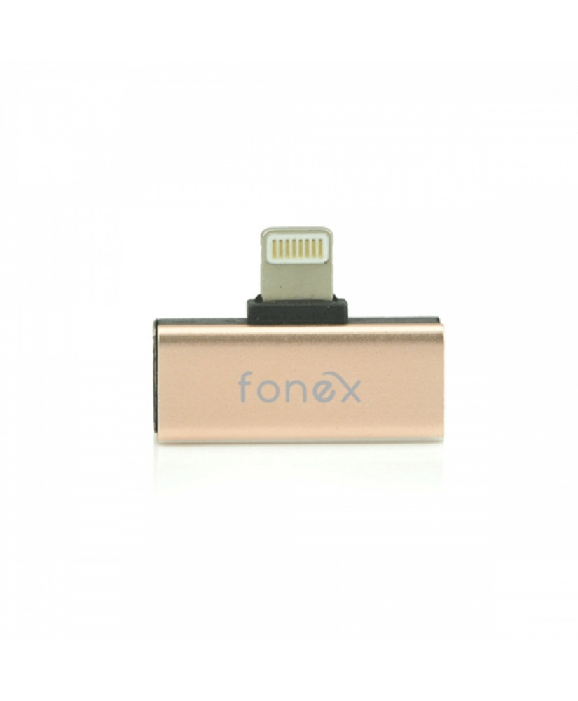 FONEX ADAPTER DUAL LIGHTNING METAL MUSIC & CHARGE gold