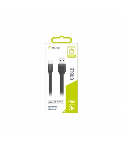 MUVIT DATA CABLE FLAT TYPE C 3A 1M black