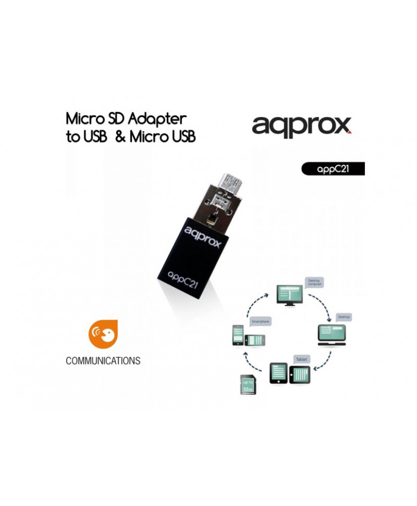 APPROX ΑΝΤΑΠΤΟΡΑΣ MICRO SD to USB & MICRO USB (AP-PC21)
