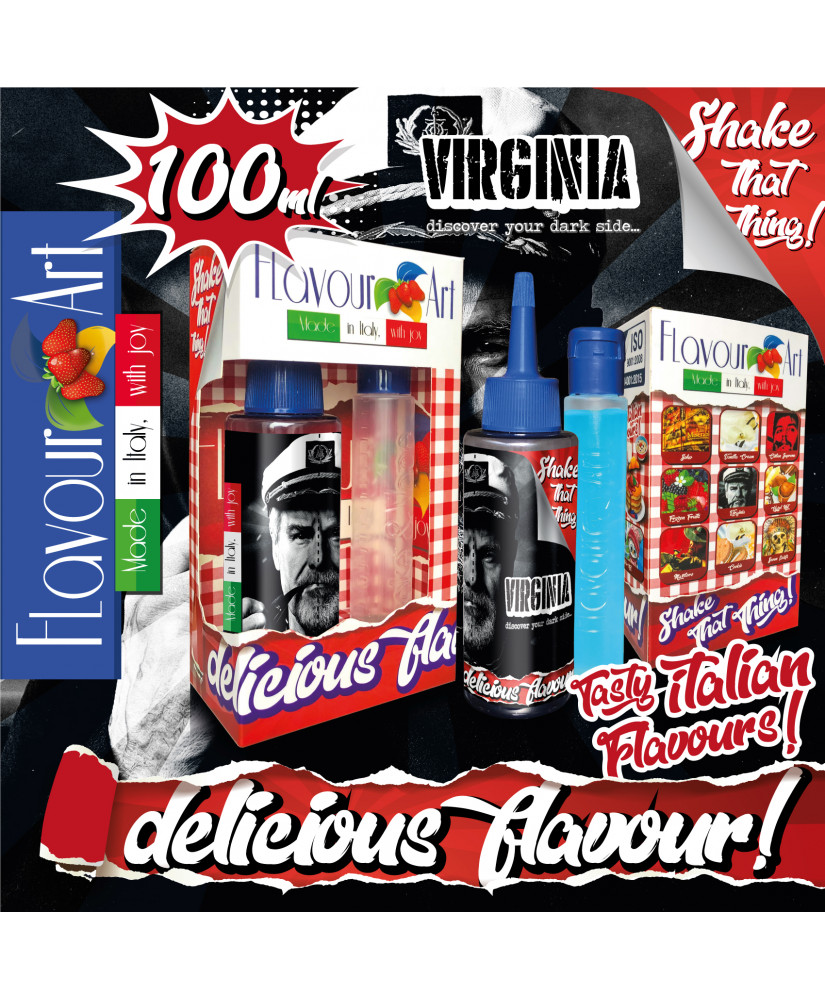FLAVOURART ITALY MIX & SHAKE 100ML VIRGINIA (ΗΠΙΟΣ ΣΤΡΙΦΤΟΣ ΚΑΠΝΟΣ VIRGINIA)