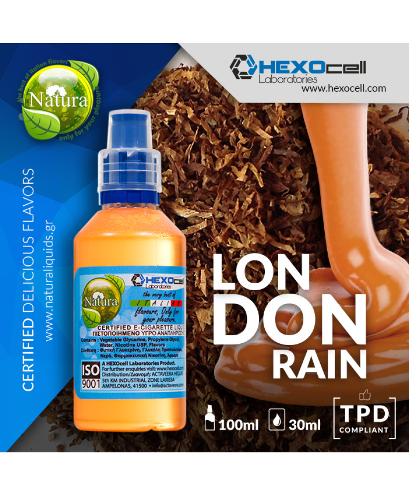 NATURA MIX & SHAKE 30/60ML LONDON RAIN (ΗΠΙΟΣ ΚΑΠΝΟΣ & ΑΛΜΥΡΗ ΚΑΡΑΜΕΛΑ)