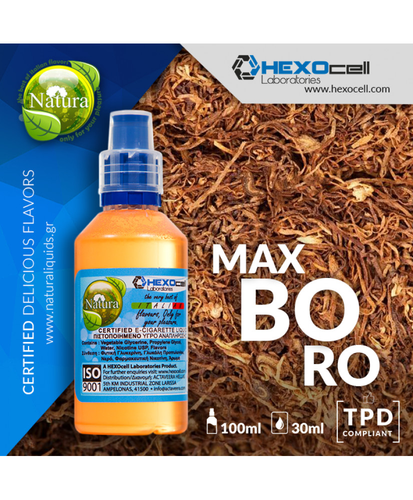 NATURA MIX & SHAKE 30/60ML MAXBORO (ΚΑΠΝΟΣ & ΝΟΤΕΣ ΜΕΛΙΟΥ)