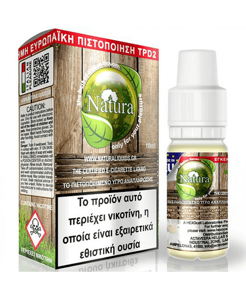 ELIQUID - 10ML - NATURA by HEXOCELL - CHAMILLA 18mg * TPD GREECE *